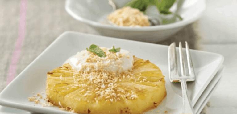 pan fried pineapple with coconut yoghurt
